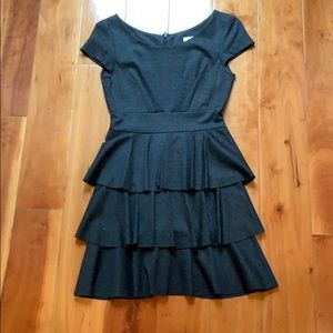 Charcoal grey fitted dress with ruffles